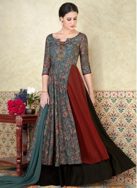 Black and Grey Tussar Silk Layered Designer Suit