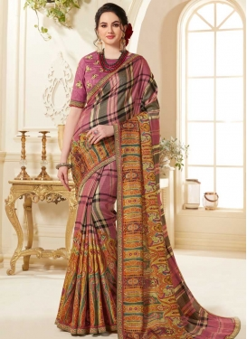 Black and Hot Pink Embroidered Work Contemporary Style Saree