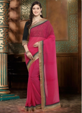 Black and Hot Pink Faux Georgette Traditional Saree