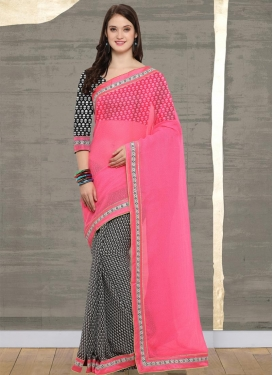 Black and Hot Pink Half N Half Trendy Saree
