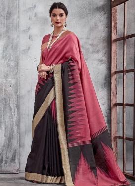 Black and Hot Pink Khadi Silk Trendy Saree