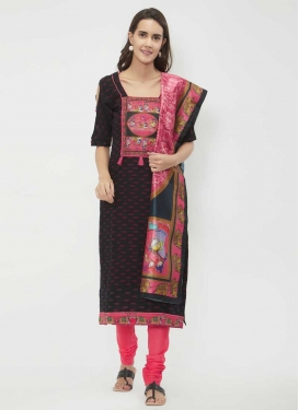 Black and Hot Pink Print Work Churidar Salwar Kameez