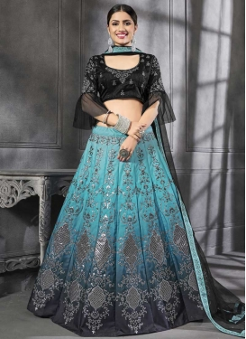 Black and Light Blue  A Line Lehenga Choli
