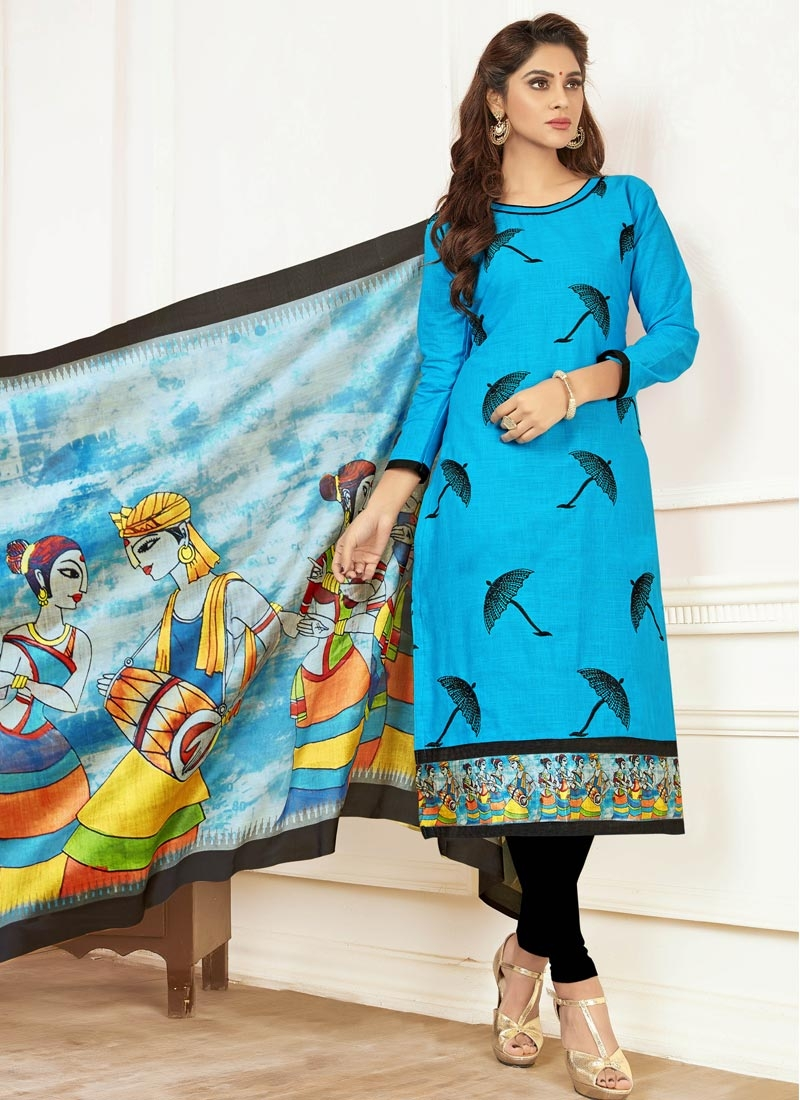 Black and Light Blue Cotton Trendy Straight Suit For Casual