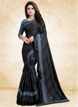 Black and Light Blue Designer Contemporary Style Saree For Ceremonial
