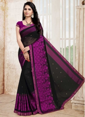 Black and Magenta Contemporary Style Saree For Ceremonial