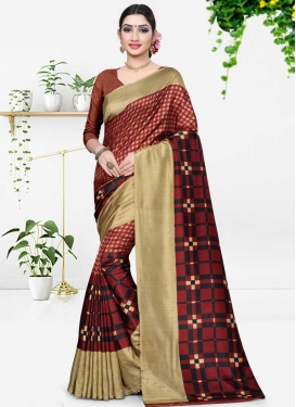 Black and Maroon Contemporary Style Saree For Casual