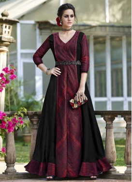 Black and Maroon Pant Style Designer Salwar Kameez For Ceremonial