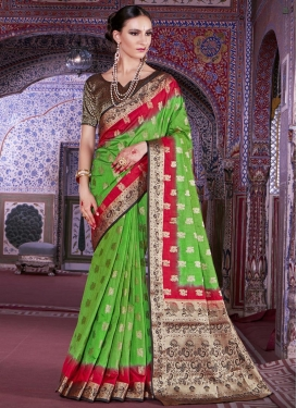 Black and Mint Green Art Silk Classic Saree