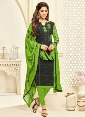 Black and Mint Green Churidar Salwar Kameez
