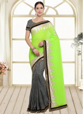 Black and Mint Green Half N Half Saree