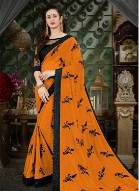 Black and Mustard Faux Georgette Contemporary Style Saree