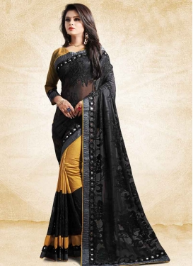Black and Mustard Net Designer Half N Half Saree