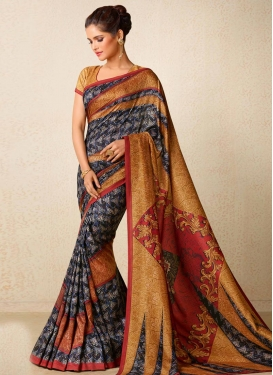Black and Mustard Print Work Contemporary Saree