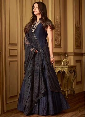 Black and Navy Blue Floor Length Designer Salwar Suit For Ceremonial