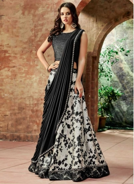 Black and Off White A Line Lehenga Choli
