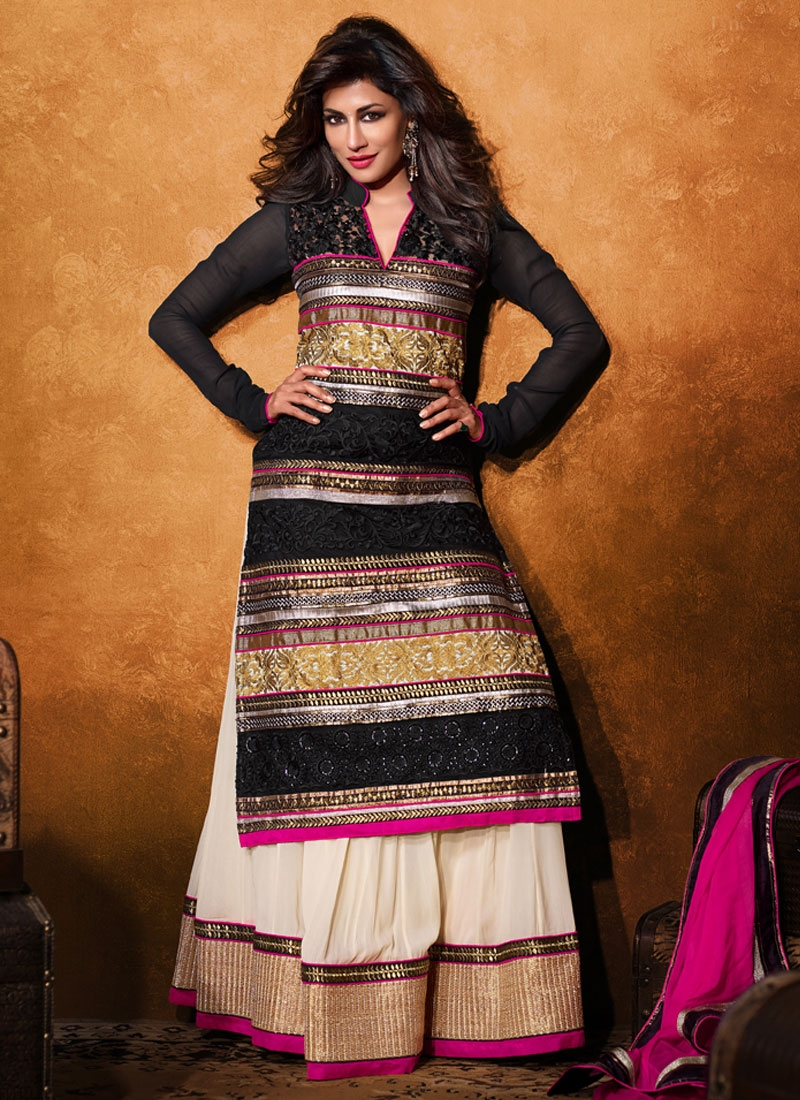 9e49aa840311 Black And Off White Color Chitrangada Singh Designer Lehenga Choli