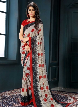 Black and Off White Faux Georgette Designer Contemporary Style Saree