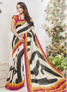 Black and Off White Strips Print Work Art Silk Trendy Classic Saree