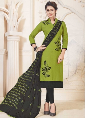 Black and Olive Embroidered Work Trendy Straight Salwar Suit