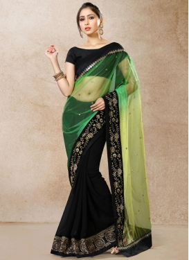 Black and Olive Lace Work Faux Georgette Half N Half Designer Saree