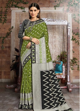Black and Olive Thread Work Contemporary Saree