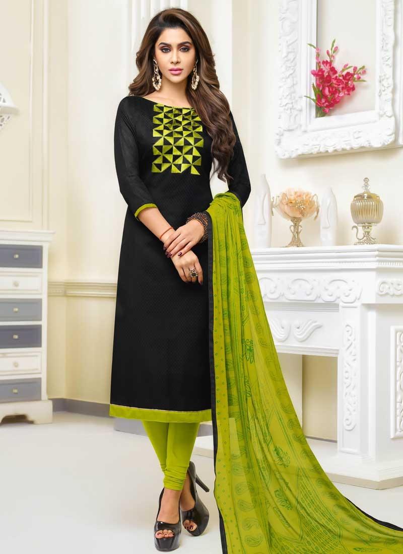 Black and Olive Trendy Churidar Salwar Kameez For Casual