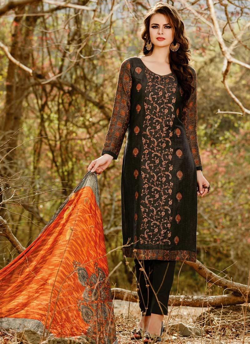 Black and Orange Cotton Satin Pant Style Pakistani Suit