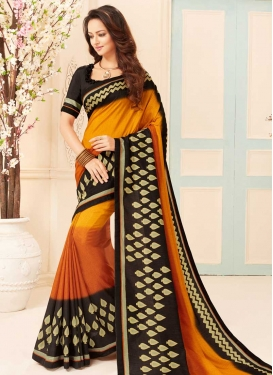 Black and Orange Designer Traditional Saree For Casual