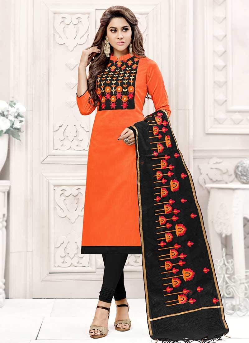 Black and Orange Embroidered Work Churidar Salwar Suit