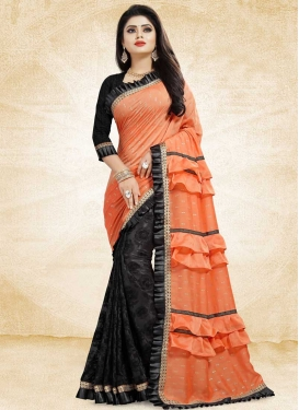 Black and Orange Embroidered Work Half N Half Saree