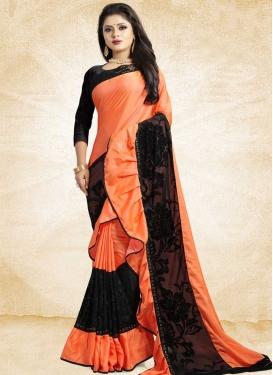 Black and Orange Embroidered Work Satin Silk Designer Contemporary Style Saree