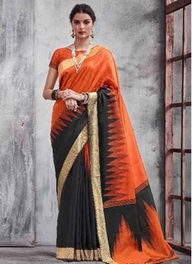 Black and Orange Khadi Silk Classic Saree