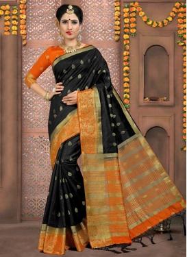 Black and Orange Thread Work Traditional Saree