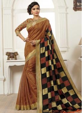 Black and Orange Traditional Saree