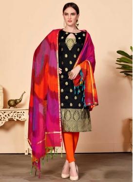 Black and Orange Trendy Churidar Salwar Kameez For Casual