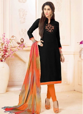 Black and Orange Trendy Churidar Salwar Kameez For Ceremonial