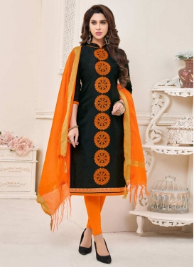 Black and Orange Trendy Churidar Salwar Suit