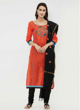 Black and Orange Trendy Straight Salwar Suit