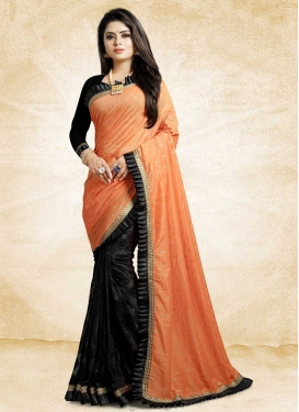 Black and Peach Lace Work Half N Half Designer Saree