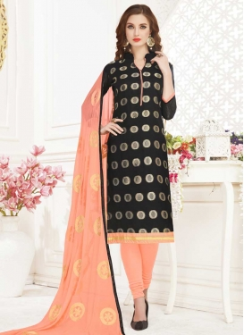 Black and Peach Trendy Churidar Salwar Suit