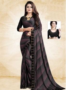Black and Pink Digital Print Work Classic Saree