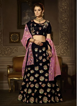 Black and Pink Net Trendy A Line Lehenga Choli