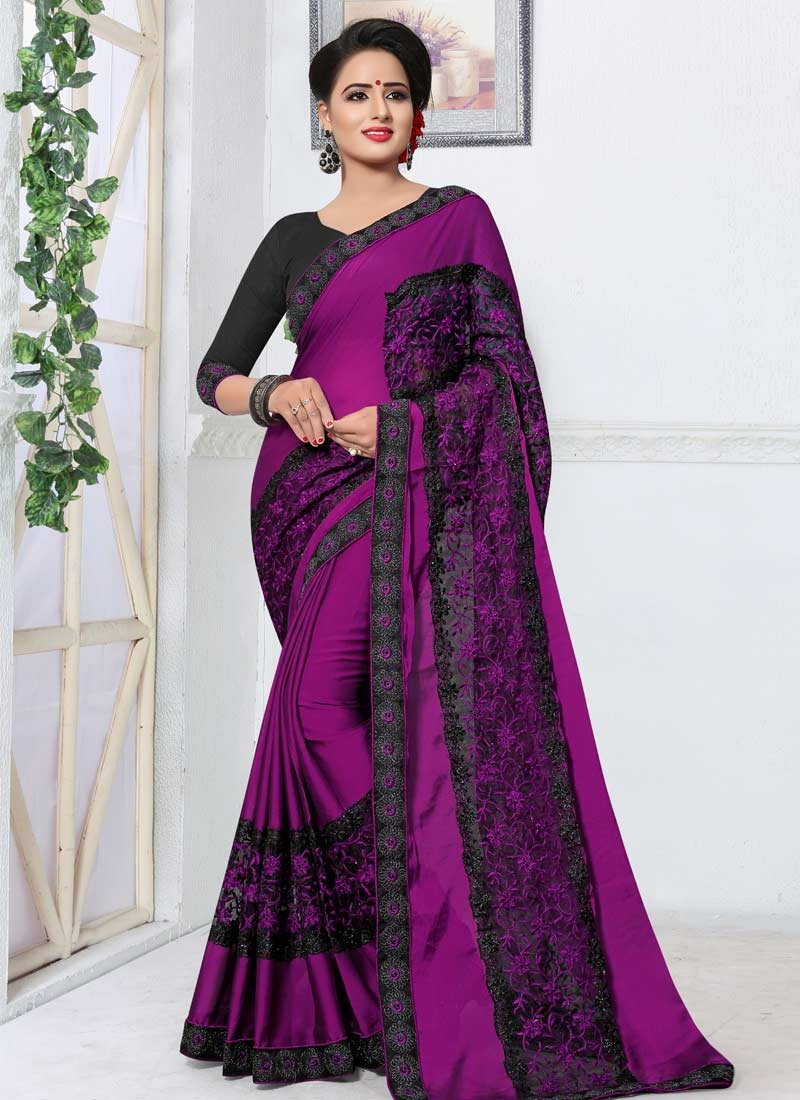 Black and Purple Fancy Fabric Designer Contemporary Style Saree