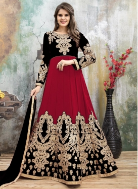 Black and Red Anarkali Salwar Kameez