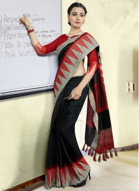 Black and Red Art Silk Designer Contemporary Style Saree
