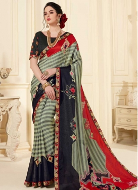 Black and Red Art Silk Trendy Classic Saree