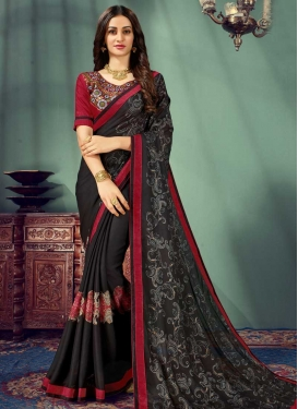 Black and Red Chiffon Satin Classic Saree