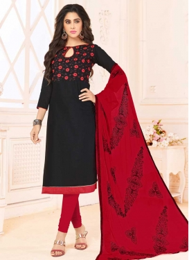 Black and Red Churidar Salwar Kameez