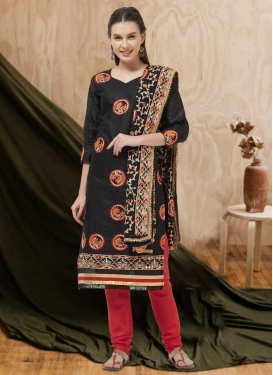 Black and Red Churidar Salwar Suit